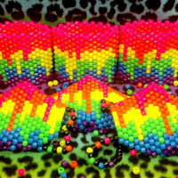 NEON Melting Rainbow Kandi Mask or cuff