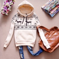 Casual Lovely Deer Snow Pattern Hoodie Hooded Sweats Outerwear Christmas
