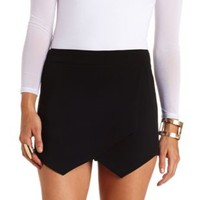 Envelope Wrap Mini Skort by Charlotte Russe - Black