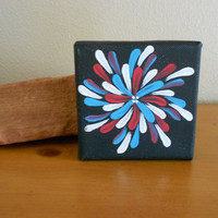 Original Painting Turquoise and Red Aboriginal Inspired by Acires