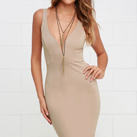 Gracefully Yours Beige Dress