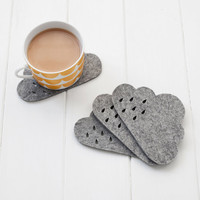 Cloud Felt Coaster set with punched rain detail -  100% 4mm grey mélange wool felt, set of 4