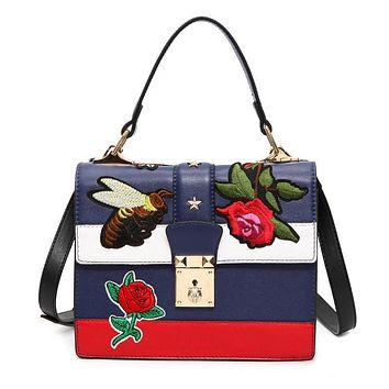 Women Messenger Bags Vintage Pu Leather Shoulder Bag Female Floral/Bee Embroidered Handbags Ladies louis Lock Crossbody Bag Tote