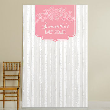 Personalized Photo Booth Backdrop - Kate's Rustic Baby Shower Collection - Trees