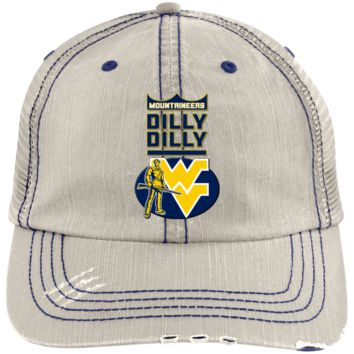 West Virginia Mountaineers : Dilly Dilly : 6990 Distressed Unstructured Trucker Cap