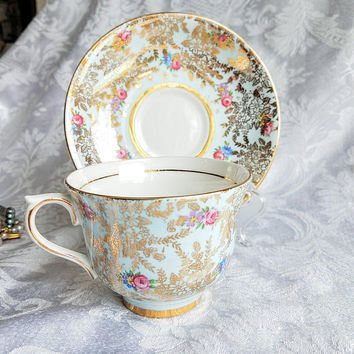 Vintage Colclough Pale Blue cup and Saucer, Fine China Demitasse, Blue Pink Rose Tea Cup, Gold Gild Shabby Chic, Cottage chic,