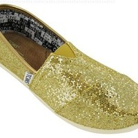 Toms Youth Classic Glitter Shoes Gold, Size 3 M US Little Kid, EU 34