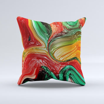 Mixed Orange & Green Paint Ink-Fuzed Decorative Throw Pillow