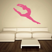 Wall Decal Vinyl Sticker Decals Art Decor Design Ballerina Gymnastics Ballet Dancer Acrobatics Girl Sport Jump Bedroom Living Room (r163)