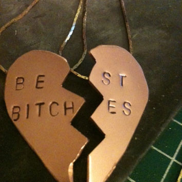 mature content Best Bitches hand  stamped split  brass by shama