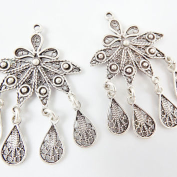 2 Delicate Petal Shaped Exotic Filigree Telkari Chandelier Earring Component Pendants - Matte Silver Plated
