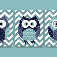 Owl Decor Owl Nursery Baby Boy Nursery decor Children Art Print Baby Nursery Print Nursery Print Boy Art set of 3 8x10 blue