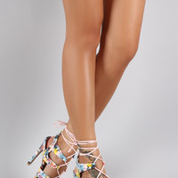 Qupid Abstract Floral Corset Lace Up Peep Toe Heel