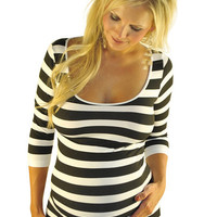 Striped Maternity Tops-Back To Basics | Mommylicious Maternity