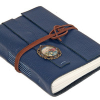 Navy Blue Leather Journal with Auto Cameo - Ready to ship