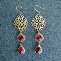 Gold plated filigree dangle earrings paisley ruby red arabesque 16 karat teardrop drop gift birthday for her