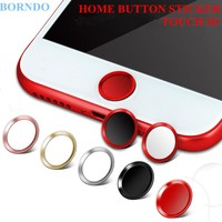 Touch ID Aluminum Home Button Sticker Fingerprint Support For iPhone 7 7Plus 6 6S 6Plus 5S SE 5 5C Red & Black + Retail Packing