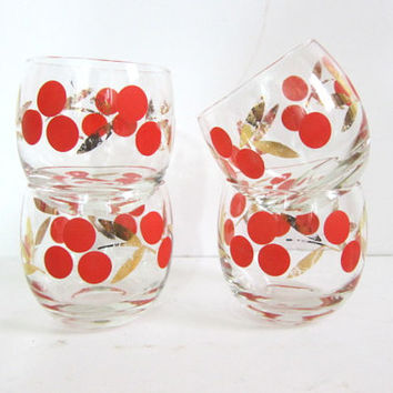 4 glasses w oranges and gold leaves. mad men poly tumblers cocktail party cups
