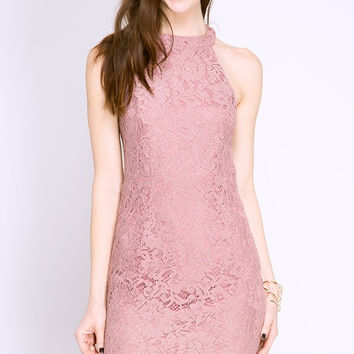 Dusty Pink LACE DRESS WITH NECK BAND