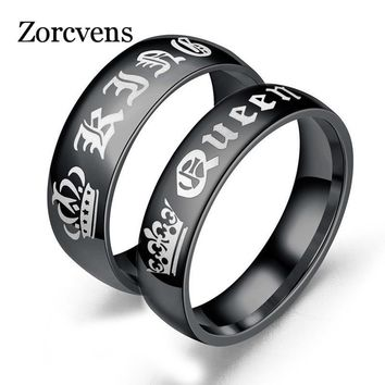 Trendy ZORCVENS His Queen Her King Wedding Rings for Women Men Stainless Steel Anniversary Band Valentine's Day Gift AT_94_13