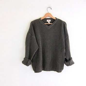 vintage army green sweater. oversized pullover sweater. slouchy vneck sweater. ramie cotton sweater