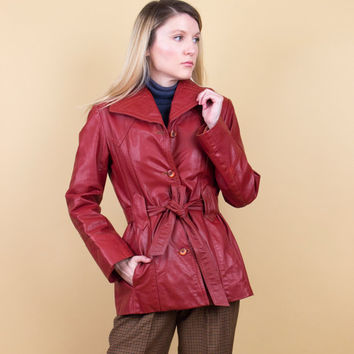 70's burgundy leather jacket / wrap coat belted fitted leather coat / Vintage 1970s merlot red minimalist tiny fit small moto