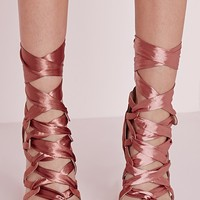 Missguided - Fabric Lace Up Geometric Heeled Sandals Pink