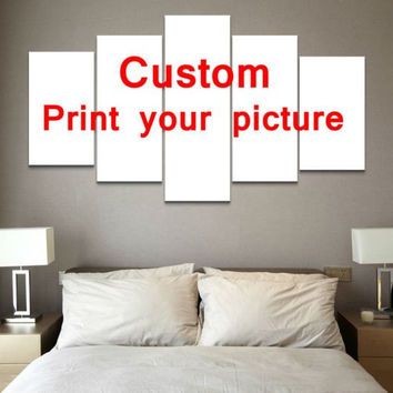 Wedding Family Pictures Custom Request 5-Piece Wall Art Canvas