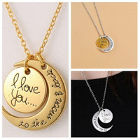 Hot ! 20pcs 2015 New I Love You To The Moon & Back Best Friend Friendship Necklace