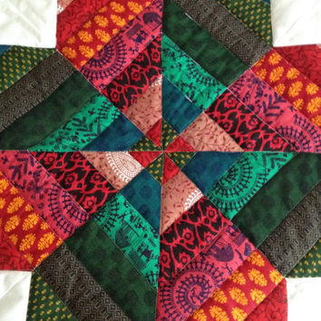 Tribal quilt~ aztec baby quilt~ star baby quilt~ arizona baby quilt~ hippie baby quilt~ boho baby~ red and green~ baby patchwork~ cot quilt