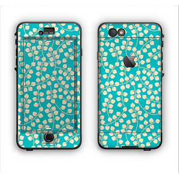 The Blue and Yellow Floral Pattern V43 Apple iPhone 6 Plus LifeProof Nuud Case Skin Set