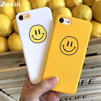 Aokin Funny Smile Phone Case For iPhone 8 7 6 6S Plus Fashion Frosted Hard PC Back Cover for iPhone 8 Couples Case Yellow White