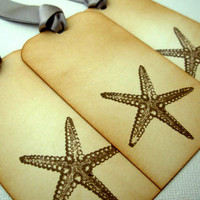 Starfish Gift Tags, Set of 6, Decorations, Favors, Hang Tags, Vintage Style, Beach, Wedding, WishTree, Luxury Tags, Choice of Ribbon Colours