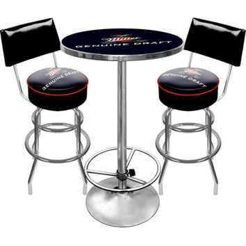 Ultimate Miller Genuine Draft Pub Table and Stools with Back