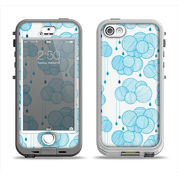 The White and Blue Raining Yarn Clouds Apple iPhone 5-5s LifeProof Nuud Case Skin Set
