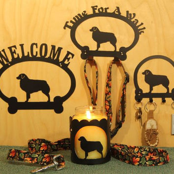 Australian Shepherd Item Grouping  Welcome Sign, Time for A Walk Leash Hook, Key Rack, Candle Holder for Yankee Type Jar Candles