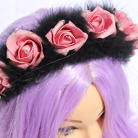Dark Pastel Fluff Band (pastel goth, nu goth, fluffy hair, kawaii, grunge, festival, hippie, faux feathers, cute, emo, flower headband, pink