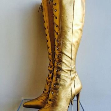 Christian Dior Gold Ostrich Leather Lace up High Heel Boots