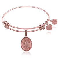 Expandable Bangle in Pink Tone Brass with Cowboy Hat And Boot Symbol