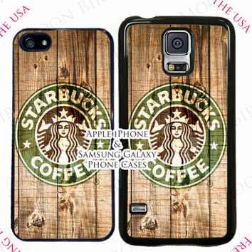 SALE  Starbucks Wood Texture Phone Case Cover For Apple iPhone 4, 5, 6, 6 Plus, Samsung Galaxy S3, S4, S5, S6, S7, Note 3, 4, 5, 5 Edge Case
