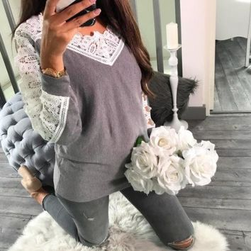 Lace Gray Stitching Casual Long-Sleeved Bottom Shirt