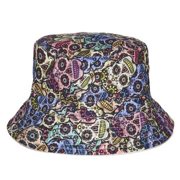 Fashion Summer Harajuku Flat Bucket Hats 3D printed Mexican Skull Outdoor Beach Hat Fishing Hip Hop tartan Cops Women Girls