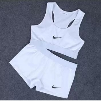 2018 Original Nike Print Sport Tank Top Vest Bra Shorts Underwear Set Two-Piece Sportswear