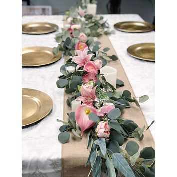 7 Foot Table Runner Centerpiece Silver Dollar Eucalyptus with Shades of Pink and Blush Floral Arrangement