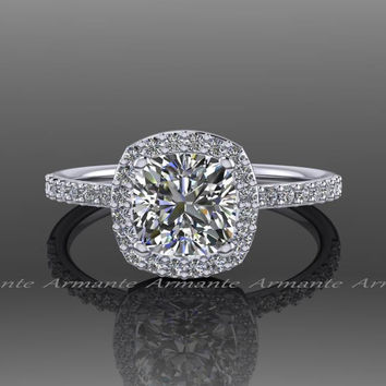 Forever One Moissanite Platinum Diamond Halo Engagement Ring, Platinum Wedding Ring Re00054fo