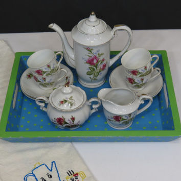 Moss Rose Demitasse Coffee Set Made in Japan Pot Sugar Creamer Cups and Saucers 15 Piece