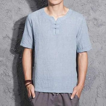 Chinese Style Thin Linen T Shirt