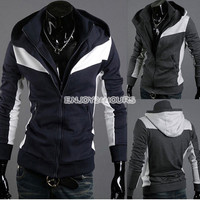 Men Double Zipper Design Winter Sweatshirt Hoodie Coat Jacket Outwear EN24H