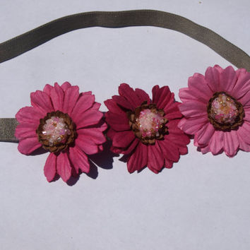 pink flower headband- baby summer accessories- stretchy hair wrap
