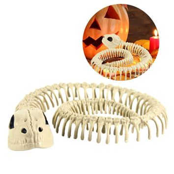 Skeleton Snake Ornament Halloween Movie Props Animal Skeleton Bat Mouse Horror Haunted House Simulation Bone Theme Party